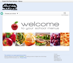 screenshot of the fhps nutrislice website
