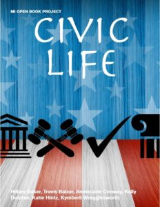 a book cover with the words Civic Life with red white and blue stars and stripes in the background and government logo