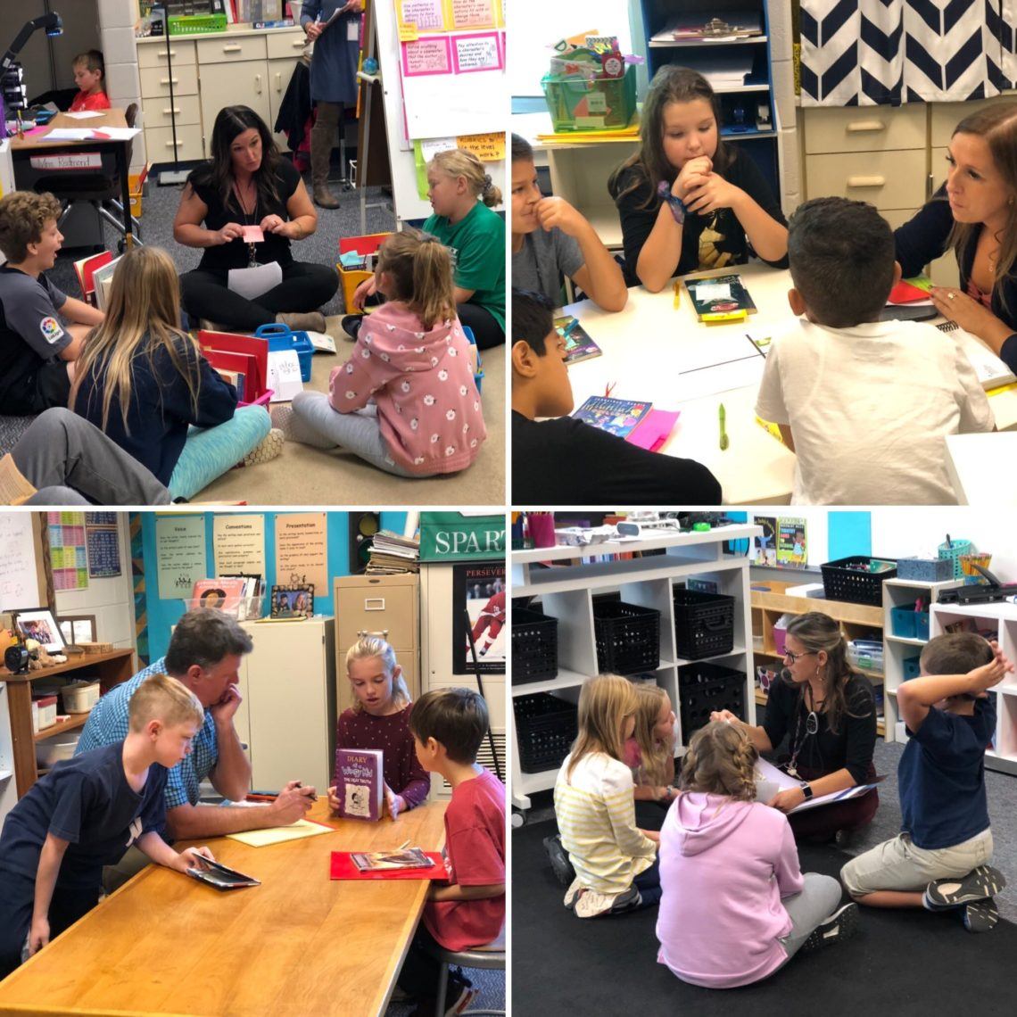 A collage of 4 pictures of students reading books with teachers