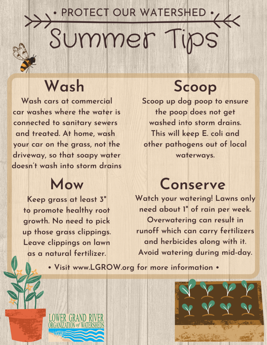 Summer Tips on how to Protect our Watershed from the Lower Grand River Organization of Watersheds