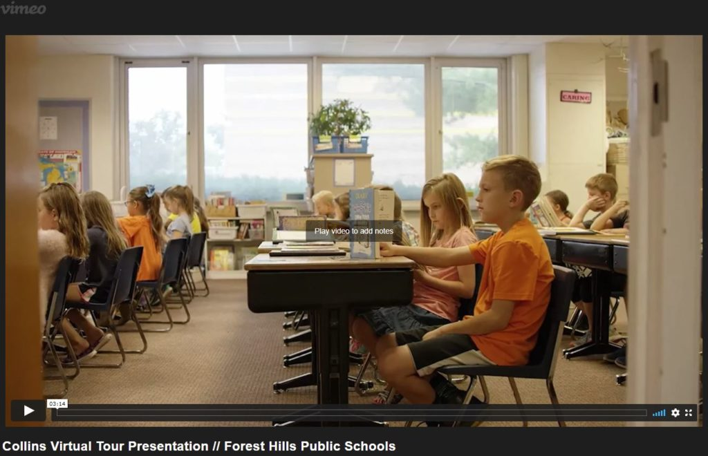 students sitting in desks and a link to a video about Collins Elem. School